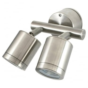 Pure LED Twin Wall Spot Retro (230V Mains)- stainless steel