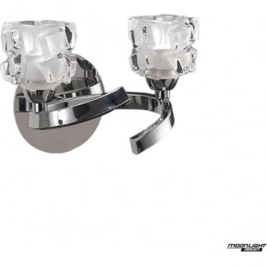 Ice 2 Light Switched Wall Lamp Polished Chrome