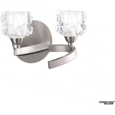 Ice 2 Light Switched Wall Lamp Satin Nickel