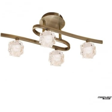 Ice 4 Light Ceiling Fitting  Antique Brass