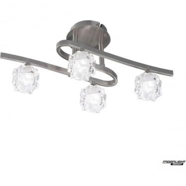 Ice 4 Light Ceiling Fitting Satin Nickel