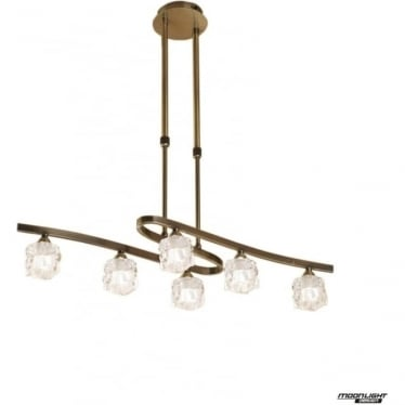 Ice 6 Light Convertible Telescopic Pendant or Semi Flush Fitting Antique Brass