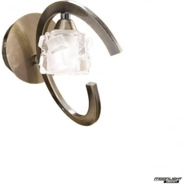 Ice Single Light Switched Wall Lamp Antique Brass
