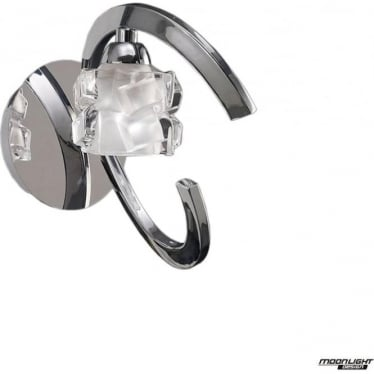 Ice Single Light Switched Wall Lamp Polished Chrome