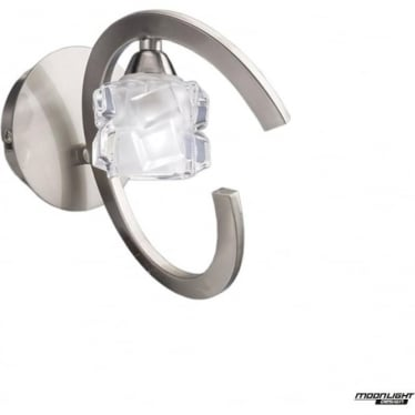 Ice Single Light Switched Wall Lamp Satin Nickel