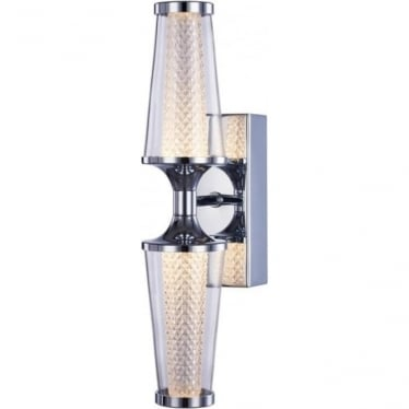 Aura Double Wall Light IP44 Chrome