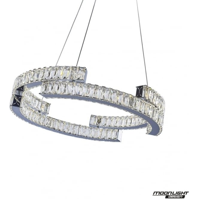 Illuminati Carousel Pendant 2 Tier Chrome Dimmable