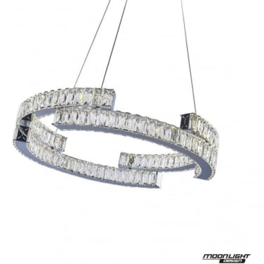Carousel Pendant 2 Tiers Chrome Dimmable