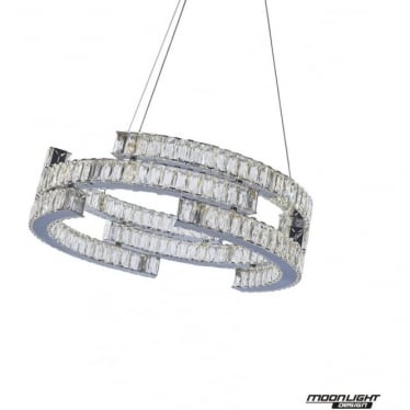 Carousel Pendant 3 Tiers Chrome Dimmable