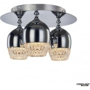 Chalice 3 Light flush Fitting Chrome IP44