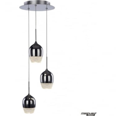 Chalice 3 Light Spiral Pendant Dimmable Chrome