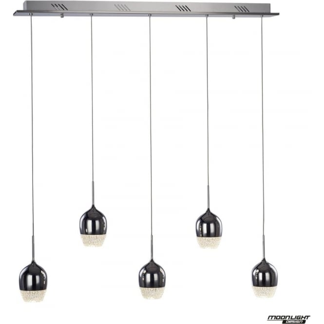 Illuminati Chalice 5 Light Bar Pendant Dimmable Chrome