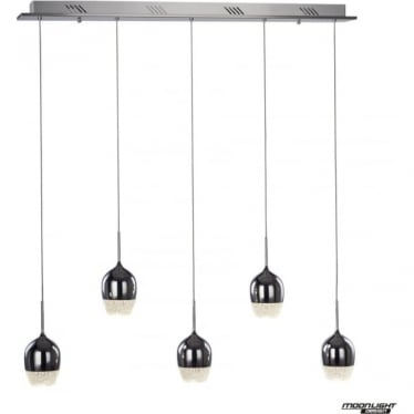 Chalice 5 Light Bar Pendant Dimmable Chrome