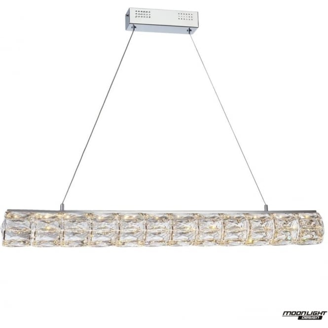 Illuminati Crystal Bar Round Pendant Chrome Dimmable