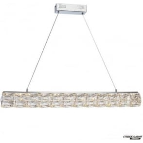 Crystal Bar Round Pendant Chrome Dimmable