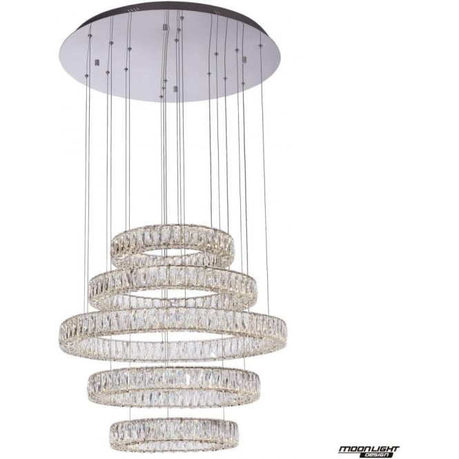 Illuminati Crystal Ring 5 Light Pendant Chrome Dimmable