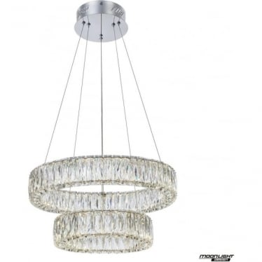Crystal Ring Double Pendant Chrome Dimmable