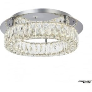 Crystal Ring flush Fitting Chrome Dimmable