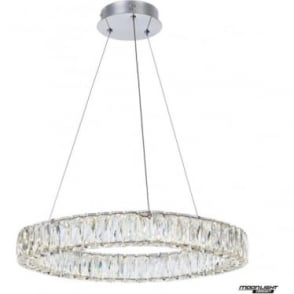 Crystal Ring Large Pendant Chrome Dimmable