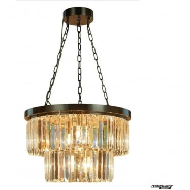 Crystalline 6 light small round ceiling pendant - Antique bronze
