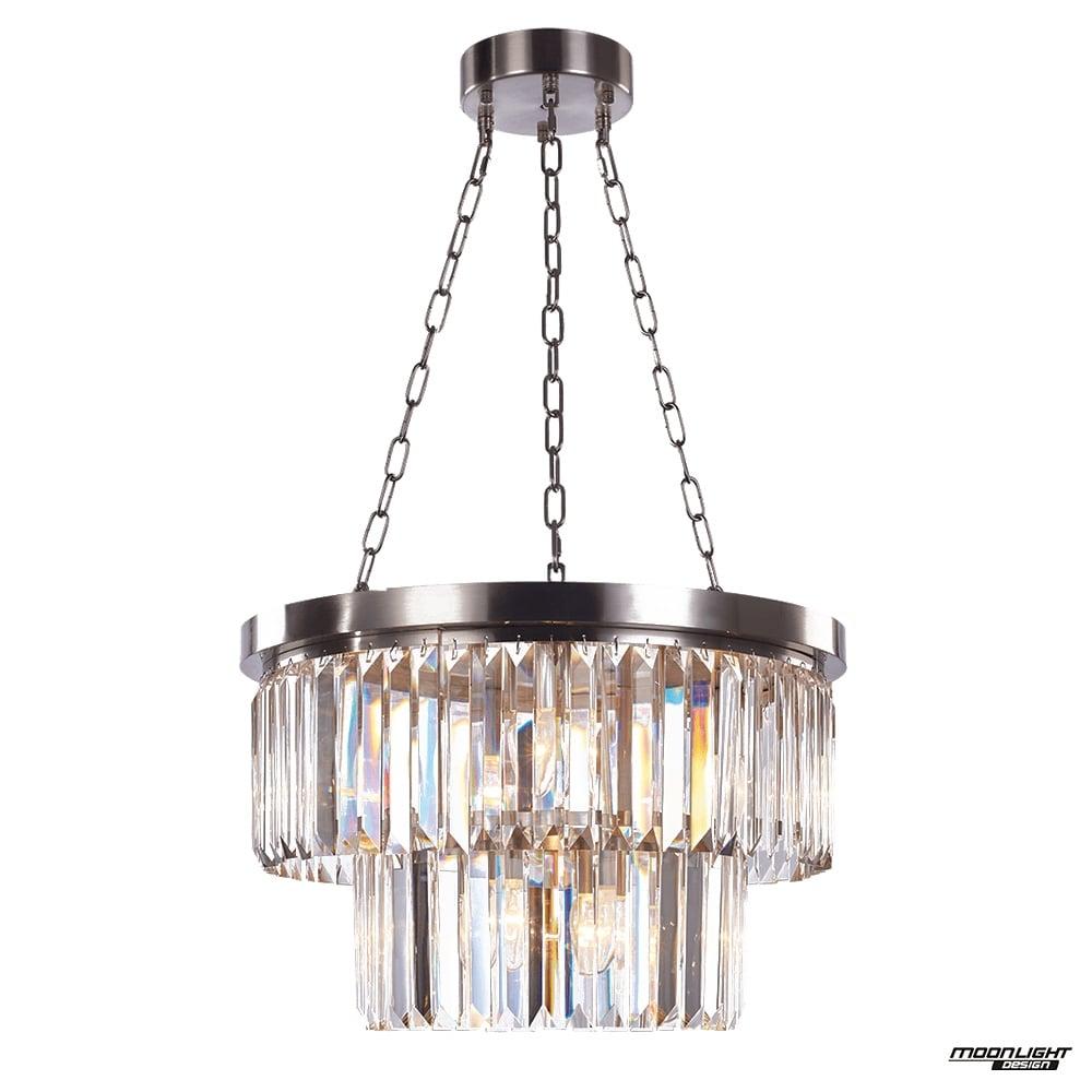 6 Light Round Chandelier, Satin Nickel