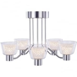 Diamond 5 Light Semi-flush Fitting IP44 Chrome