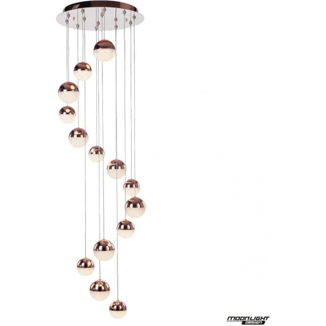 Illuminati Eclipse 14 Light Pendant 3M Copper Dimmable