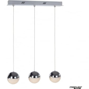 Eclipse 3 Light Bar Pendant Chrome Dimmable