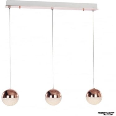 Eclipse 3 Light Bar Pendant Copper Dimmable