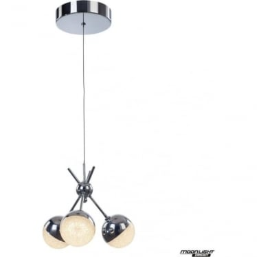 Eclipse 3 Light Cluster Semi-flush Fitting Chrome Dimmable