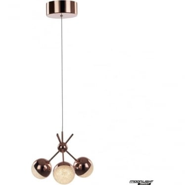 Eclipse 3 Light Cluster Semi-flush Fitting Copper Dimmable