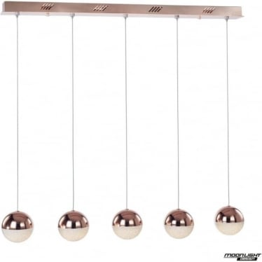 Eclipse 5 Light Bar Pendant Copper Dimmable