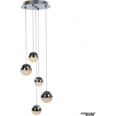 Eclipse 5 Light Spiral Pendant Chrome Dimmable