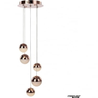 Eclipse 5 Light Spiral Pendant Copper Dimmable