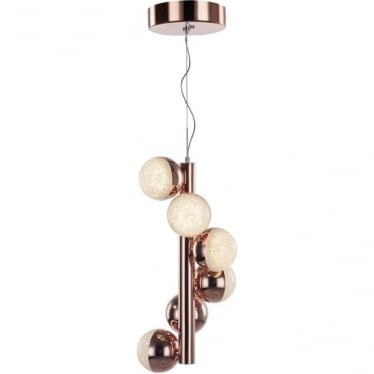 Eclipse 6 Light Vertical Pendant Copper Dimmable