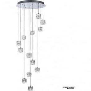 Glacier 13 Light Spiral Pendant Chrome Dimmable