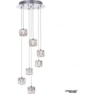 Glacier 7 Light Spiral Pendant Chrome Dimmable