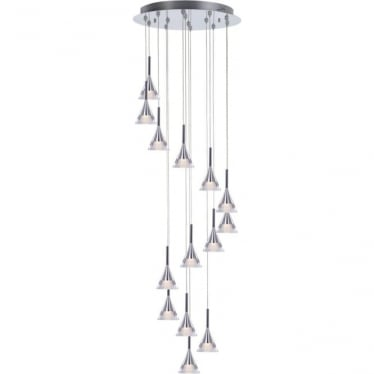 Jewel 14 Light Spiral Pendant Chrome Dimmable