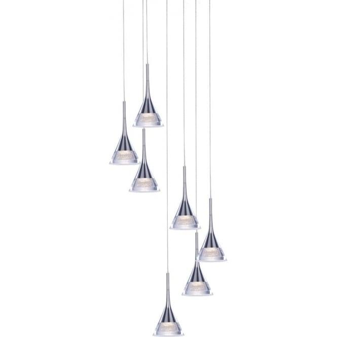 Illuminati Jewel 7 Light Spiral Pendant Chrome Dimmable
