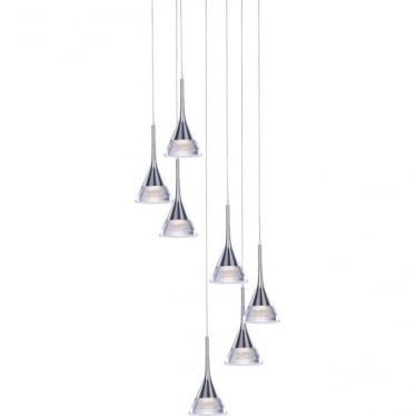 Jewel 7 Light Spiral Pendant Chrome Dimmable
