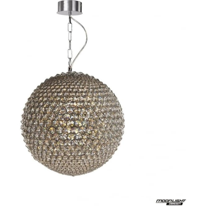 Illuminati Milano Medium Pendant Chrome with Clear Crystal Dimmable