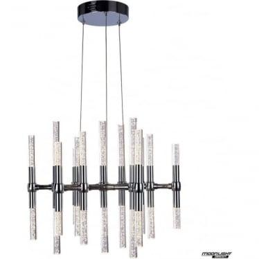 Molecule LED 26 light round adjustable ceiling pendant - Chrome