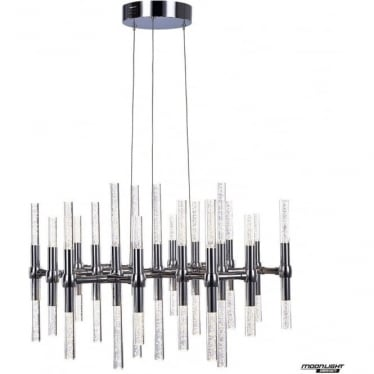 Molecule LED 38 light round adjustable ceiling pendant - Chrome