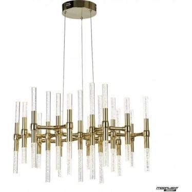 Molecule LED 38 light round adjustable ceiling pendant - Gold