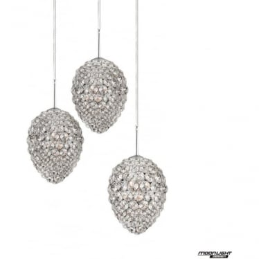 Olivio 3 Light Round Pendant Clear Crystal Dimmable