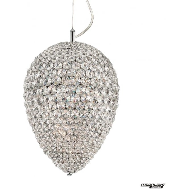 Illuminati Olivio Medium Pendant Clear Crystal Dimmable