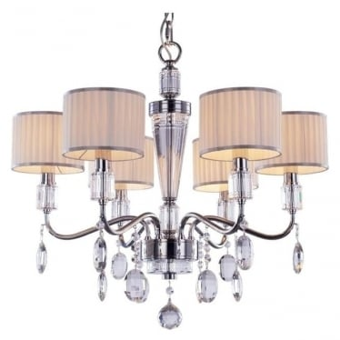 Ophelia 6 Light Pendant Chrome Dimmable