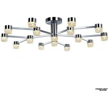 Ripple LED 16 light flush ceiling fitting - Chrome