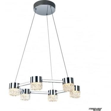 Ripple LED 6 light adjustable pendant - Chrome