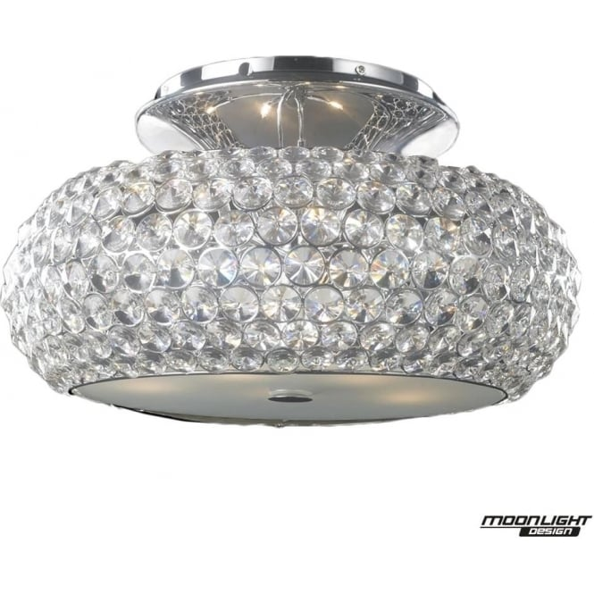 Illuminati Star Large Flush Fitting Clear Crystal Dimmable